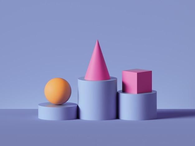 3d-rendering der gelben kugel, des rosa kegels, des rosa würfels, der auf violetten zylinderpodeststufen gelegt wird