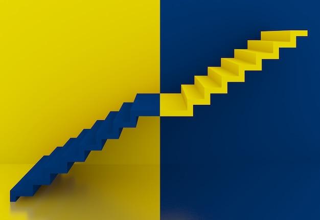 3d-rendering der gelben und blauen treppe