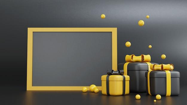 3d-rendering der gelben und schwarzen geschenkbox für verschiedene anlässe mit rahmen