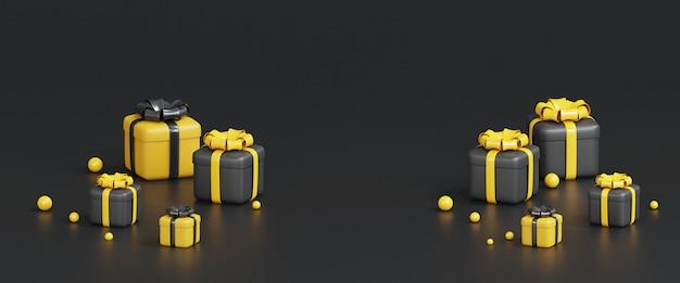 3d-rendering der gelben und schwarzen geschenkbox für verschiedene anlässe