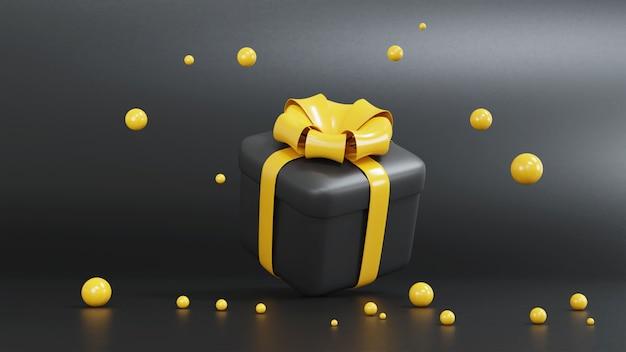 3d-rendering der gelben und schwarzen geschenkbox für weihnachten