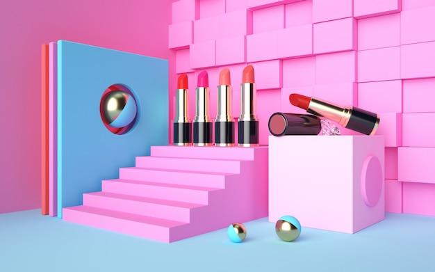 3d-rendering der geometrischen szene mit verschiedenen lippenstiften auf dem podium für modellanzeige