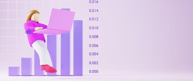 3d-rendering der geschäftsfrau. online-shopping und e-commerce im web-business-konzept. sichere online-zahlungstransaktion mit smartphone.