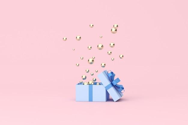 3d-rendering der goldenen kugel, die aus einer offenen blauen geschenkbox schwebt