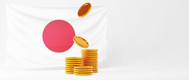 3d-rendering der goldenen münzen und der japanflagge. online-shopping und e-commerce im web-business-konzept. sichere online-zahlungstransaktion mit smartphone.