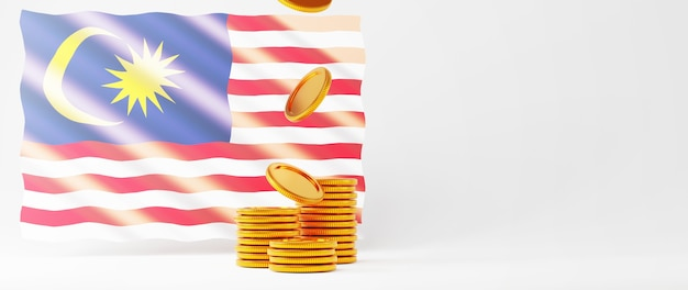 3d-rendering der goldenen münzen und der malaysia-flagge. online-shopping und e-commerce im web-business-konzept. sichere online-zahlungstransaktion mit smartphone.
