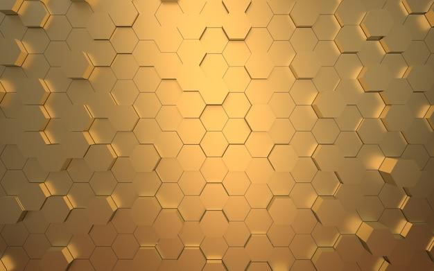 3d-rendering der goldenen sechseckoberfläche