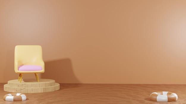 3d-rendering der hintergrundsessel in der mitte von geschmolzener schokolade für präsentationsprodukte schokoladentag-thema für den hintergrund von webseiten