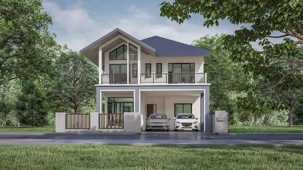 3d-rendering der home office-visualisierung
