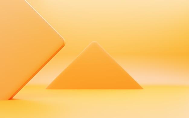 3d-rendering der leeren orange abstrakten geometrischen minimalen konzepthintergrundszene für werbung