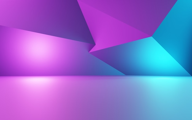 3d-rendering der lila und blauen abstrakten geometrischen hintergrundwerbung für produktdisplays
