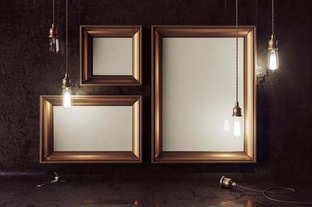 3d-rendering der loft-szene mit elektrischen elektrischen lampen und leeren bilderrahmen