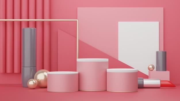 3d-rendering der minimalen szene des leeren podiums mit kosmetik-ausstellungsstand für produkt-mock-up