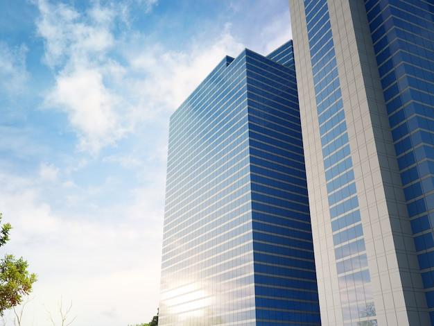 3d-rendering der modernen architekturfassade mit blauem himmelshintergrund
