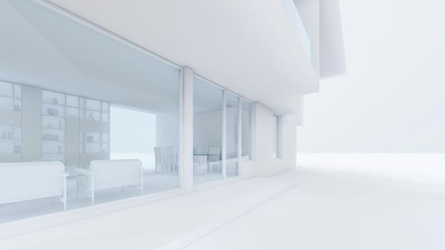 3d-rendering der modernen hausillustration
