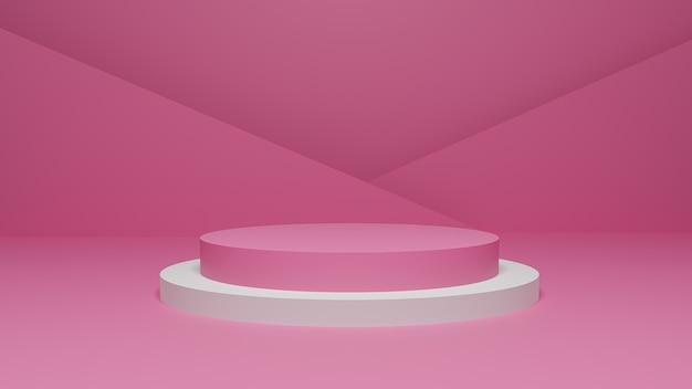 3d-rendering der pastellrosa und -weiß-plattform