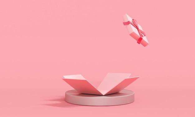 3d-rendering der rosafarbenen geschenkbox-explosion zeigt leerraum im hintergrund für kommerzielles design