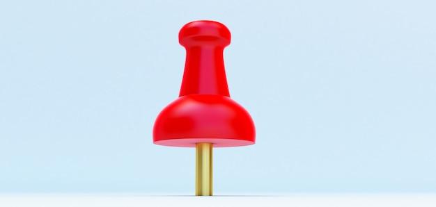 3d-rendering der roten reißzwecke