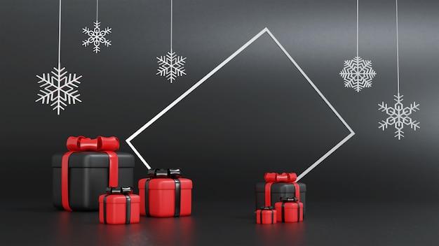3d-rendering der roten und schwarzen geschenkbox für weihnachten mit rahmen
