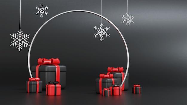 3d-rendering der roten und schwarzen geschenkbox für weihnachten mit rundem rahmen