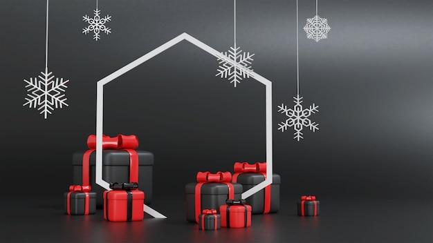 3d-rendering der roten und schwarzen geschenkbox für weihnachten mit sechseckigem rahmen