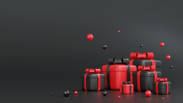 3d-rendering der roten und schwarzen geschenkbox für weihnachten