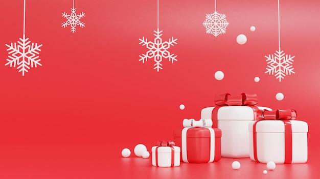 3d-rendering der roten und weißen geschenkbox für weihnachten