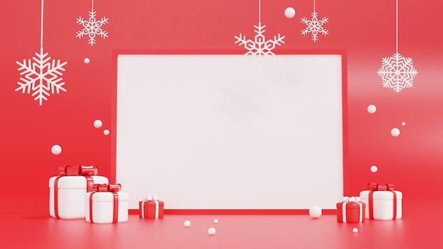 3d-rendering der roten und weißen geschenkbox mit rahmen für weihnachten