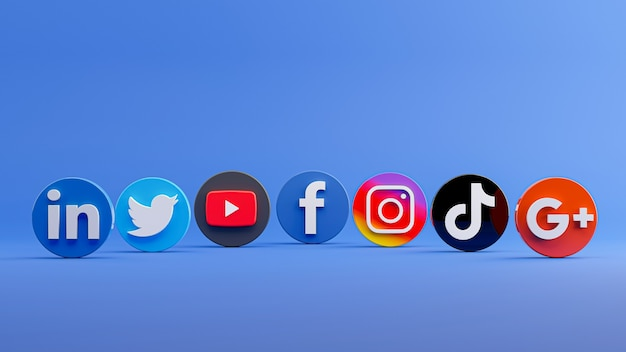 3d-rendering der social-media-icon-sammlung