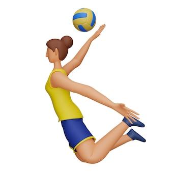 3d-rendering der sportlerin, die volleyball auf weißem hintergrund spielt.