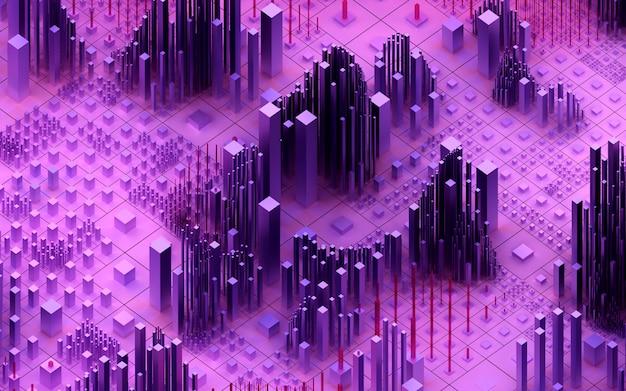 3d-rendering der topografischen landschaft 3d des abstrakten kunsthintergrunds 3d mit surrealem gebirgstal basierend auf zufälligen kleinen und großen würfelboxen bars oder säulen in lila und rosa farbverlaufsfarbe