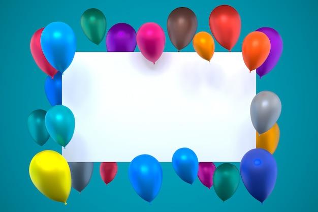 3d-rendering der weißen karte mit mehrfarbigen aufblasbaren luftballons
