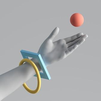 3d-rendering der weißen künstlichen hand mit bunten geometrischen armbändern.