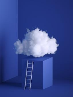 3D-Rendering der weißen weichen Wolke, des Würfel-Podiums, des Sockels, des minimalen Rauminnenraums, der Leiter, der Treppe.
