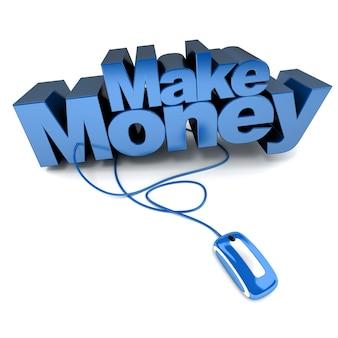 3d-rendering der wörter make money, verbunden mit einer computermaus