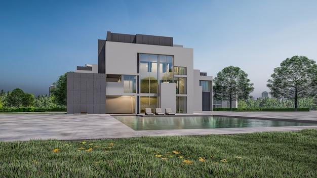 3d-rendering der wohnhausvisualisierung