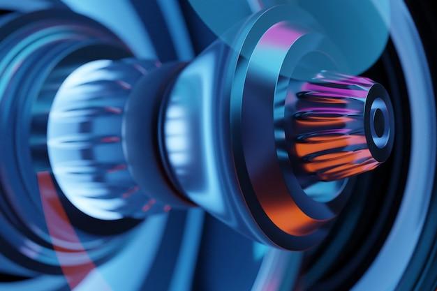 3d-rendering der zukünftigen triebwerksraketenturbinentechnologie unter blauem und violettem licht. futuristischer teil einer raumfahrzeugturbine