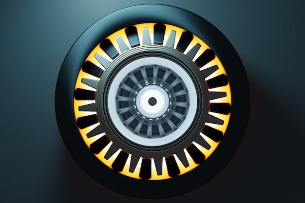 3d-rendering der zukünftigen triebwerksraketenturbinentechnologie unter licht. futuristischer teil einer raumfahrzeugturbine