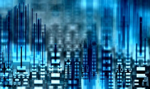 3d-rendering des 3d-hintergrunds der abstrakten kunst mit tiefenschärfeeffekt mit surrealer stadt in der innenstadt oder logikplatine mit mikrochipgebäuden basierend auf kästen und balken in blauer und weißer farbe