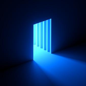 3d-rendering des abstrakten blauen neonlichts, das aus dem loch in der wand herausgeht