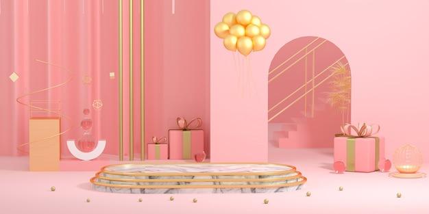 3d-rendering des abstrakten bühnenhintergrunds für die produktanzeige