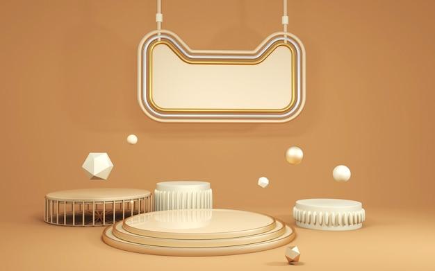 3d-rendering des abstrakten bühnenhintergrunds mit podium für modellanzeige