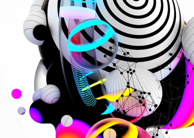 3d-rendering des abstrakten kunst-3d-hintergrunds mit surrealen fliegenden metakugel-kugelblasen oder festlichen partyballons