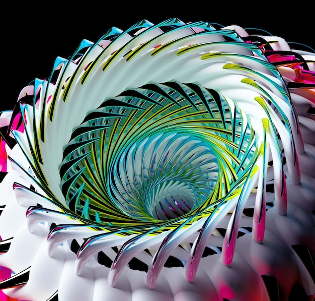 3d-rendering des abstrakten kunst-3d-hintergrunds mit surrealer 3d-alien-blumenturbine oder rad in kugelförmiger spiraldrehung