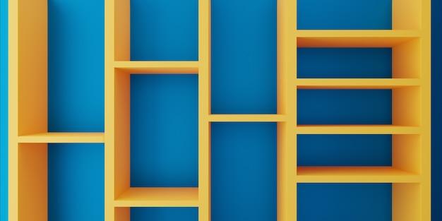 3d-rendering des abstrakten minimalkonzepts der gelben blauen wand des leeren bücherregals