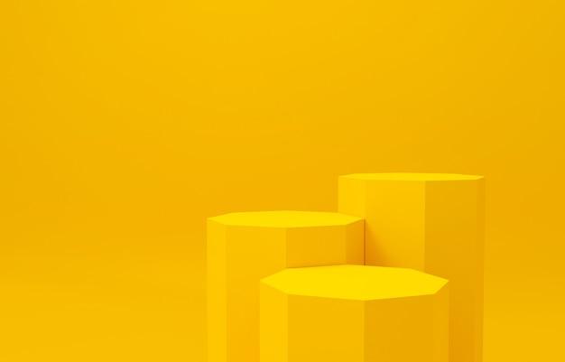 3d-rendering des achteckigen gelben hintergrundzusammenfassungsstudios. podest-gewinner.