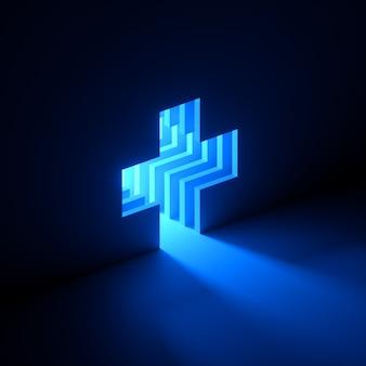 3d-rendering des blauen neonlichts, das aus dem loch in der wand herausgeht