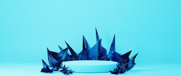 3d-rendering des blauen podiums mit schwarzem prisma