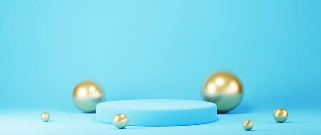 3d-rendering des blauen podiums und der goldenen kugeln