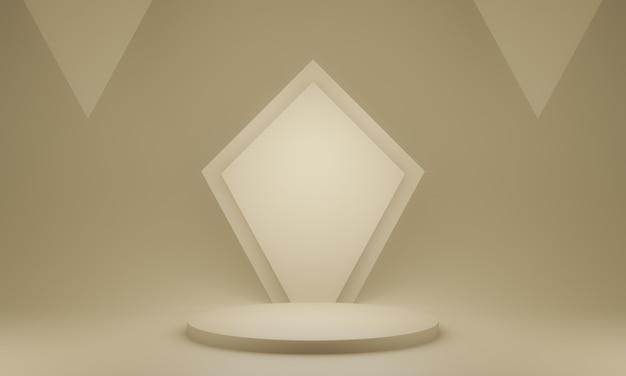 3d-rendering des braunen geometrischen ständers